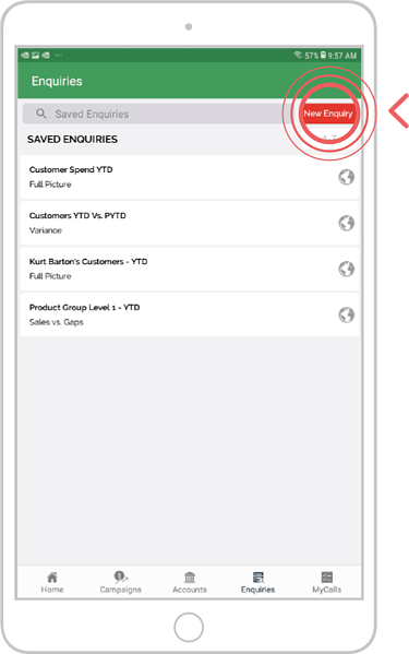 How to export an enquiry - Android 2