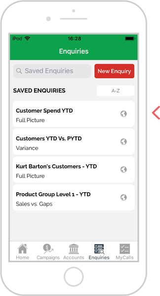 Find a saved enquiry - iOS 2