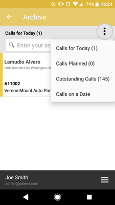 How to see Archived Calls Android 3-01